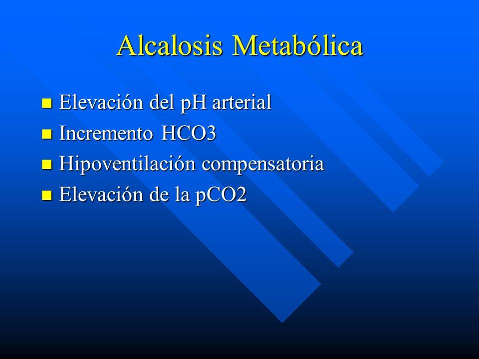 Alcalosis Metabólica Elevación del pH arterial Incremento HCO3