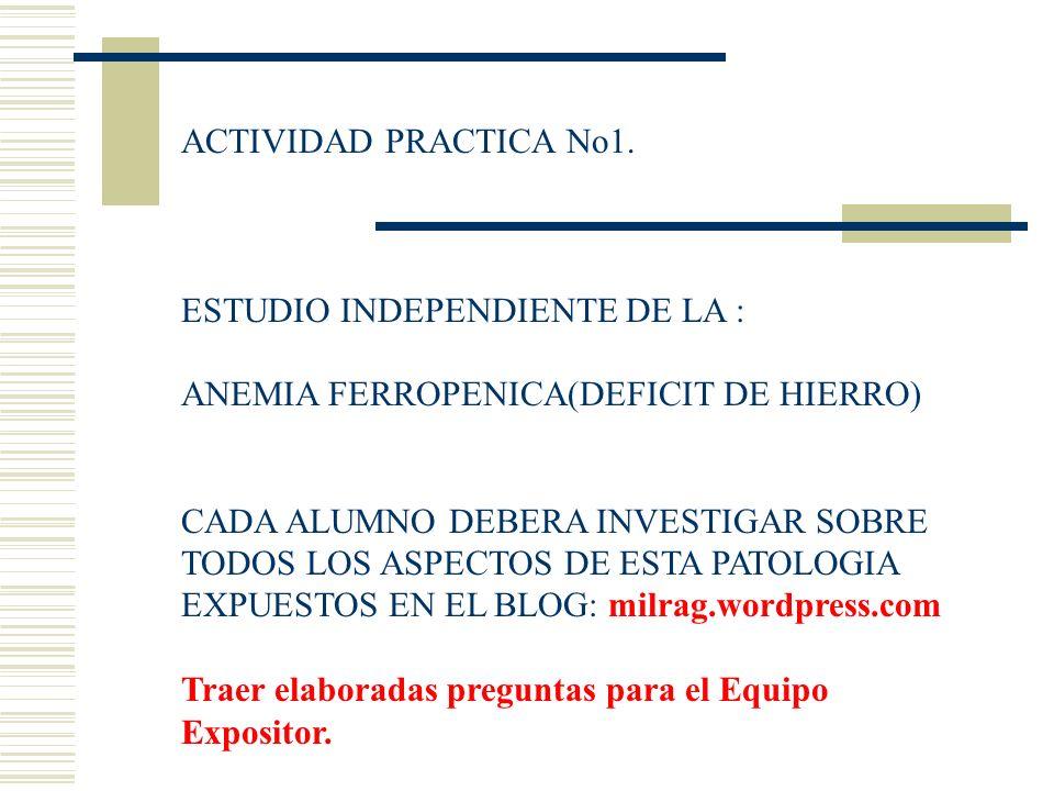 ACTIVIDAD PRACTICA No1. ESTUDIO INDEPENDIENTE DE LA : ANEMIA FERROPENICA(DEFICIT DE HIERRO)