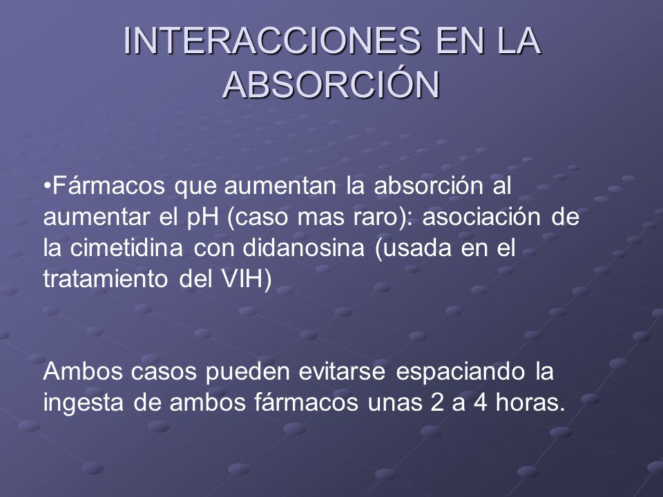 INTERACCIONES EN LA ABSORCIÓN