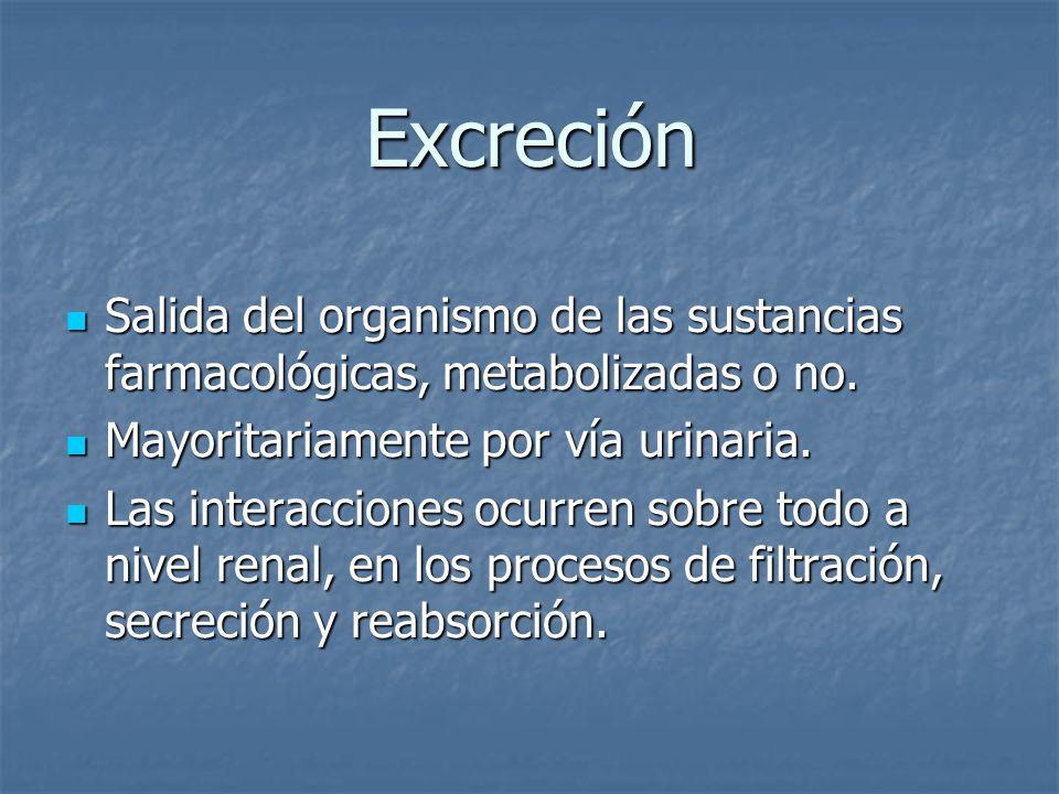 Excreción Salida del organismo de las sustancias farmacológicas, metabolizadas o no. Mayoritariamente por vía urinaria.