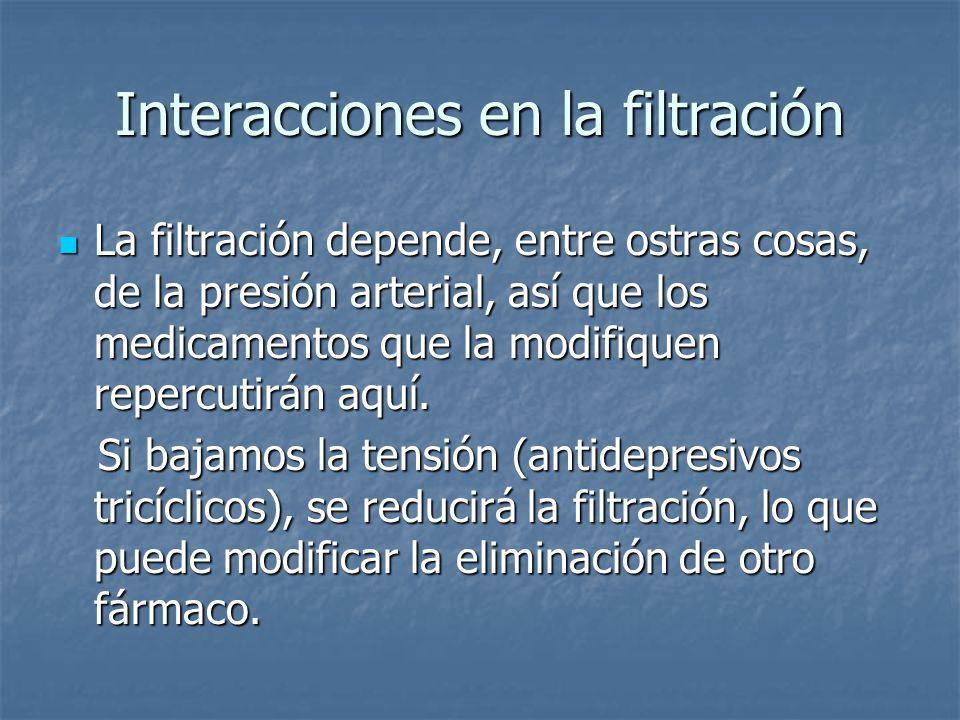 Interacciones en la filtración