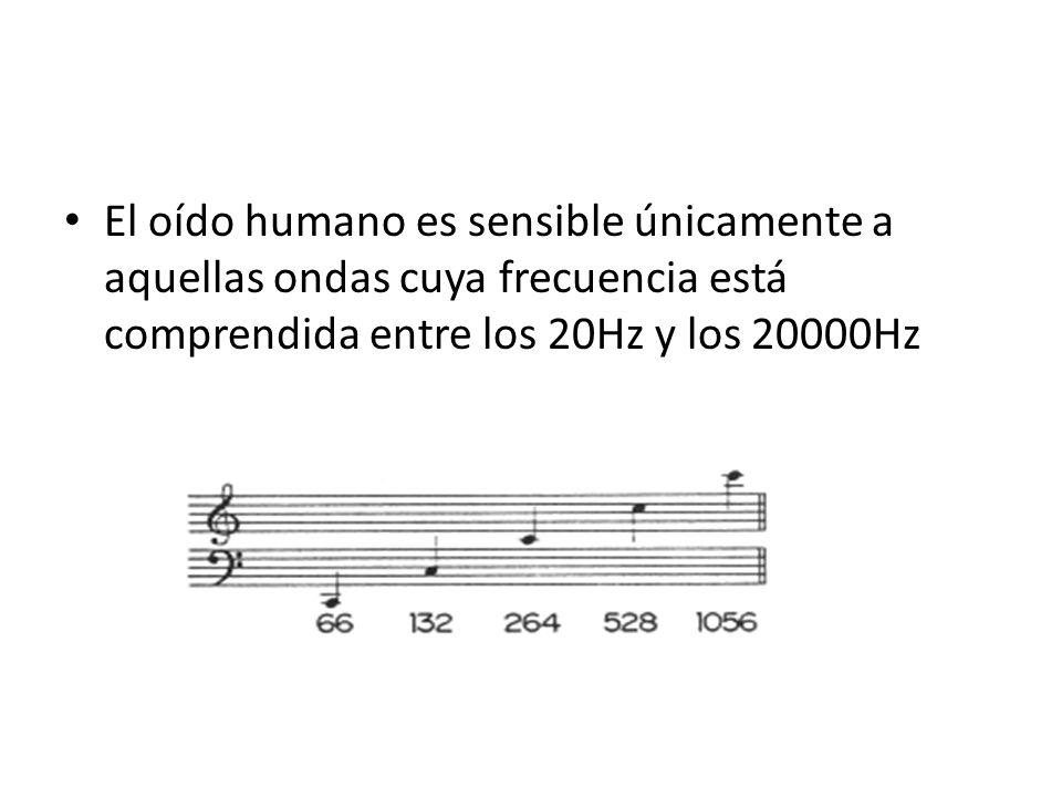 El oído humano es sensible únicamente a aquellas ondas cuya frecuencia está comprendida entre los 20Hz y los 20000Hz