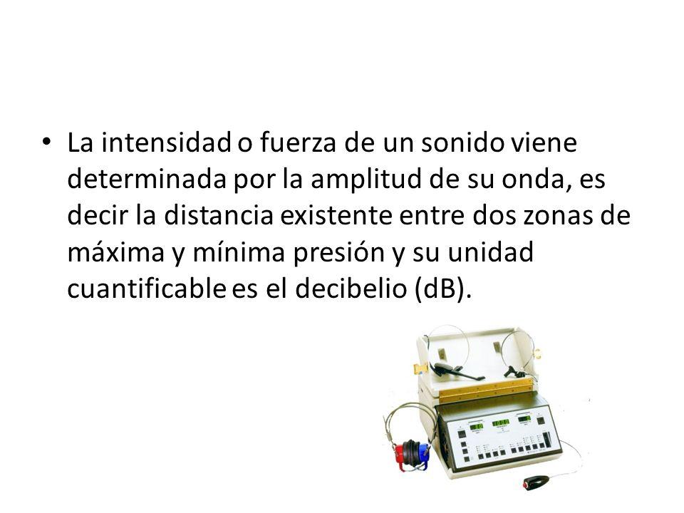 La intensidad o fuerza de un sonido viene determinada por la amplitud de su onda, es decir la distancia existente entre dos zonas de máxima y mínima presión y su unidad cuantificable es el decibelio (dB).