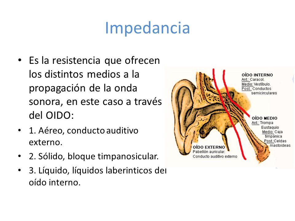 Impedancia Es la resistencia que ofrecen los distintos medios a la propagación de la onda sonora, en este caso a través del OIDO: