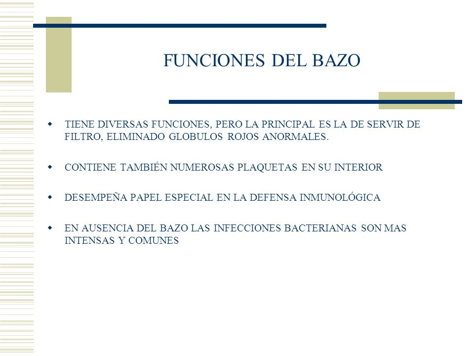 FUNCIONES DEL BAZO TIENE DIVERSAS FUNCIONES, PERO LA PRINCIPAL ES LA DE SERVIR DE FILTRO, ELIMINADO GLOBULOS ROJOS ANORMALES.