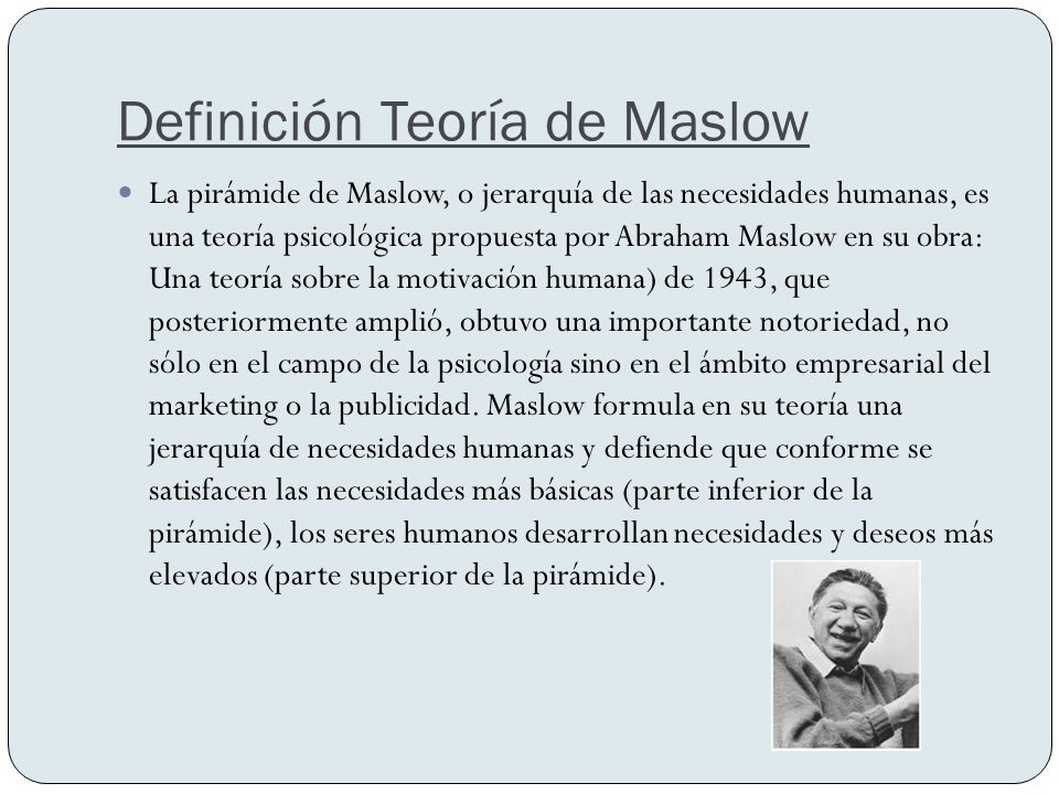 Definición Teoría de Maslow