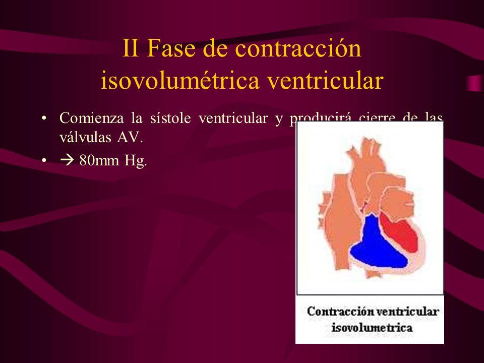 II Fase de contracción isovolumétrica ventricular