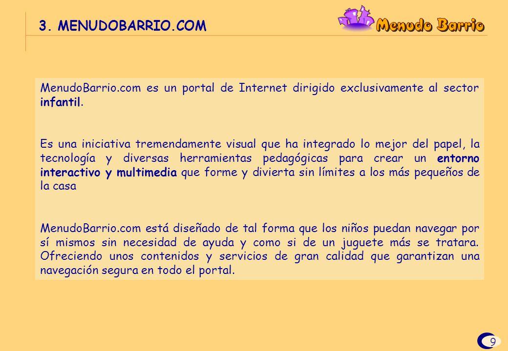 3. MENUDOBARRIO.COM MenudoBarrio.com es un portal de Internet dirigido exclusivamente al sector infantil.