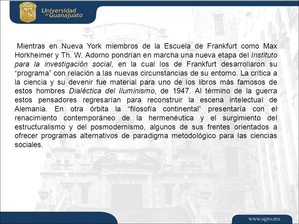 Mientras en Nueva York miembros de la Escuela de Frankfurt como Max Horkheimer y Th.