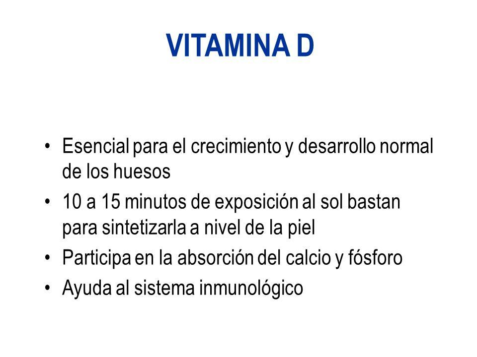 VITAMINA D Esencial para el crecimiento y desarrollo normal de los huesos.