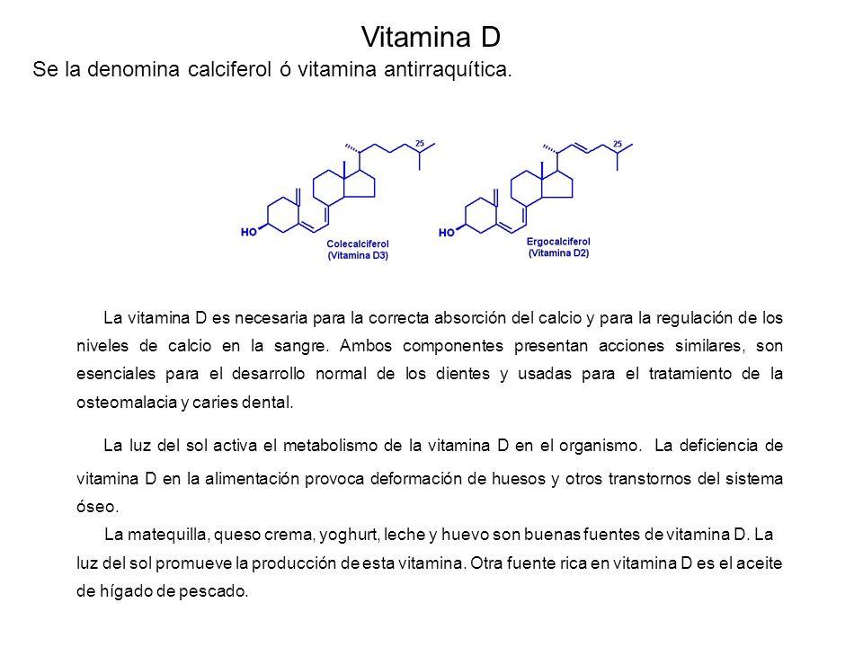 Vitamina D Se la denomina calciferol ó vitamina antirraquítica.