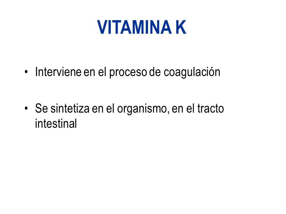 VITAMINA K Interviene en el proceso de coagulación