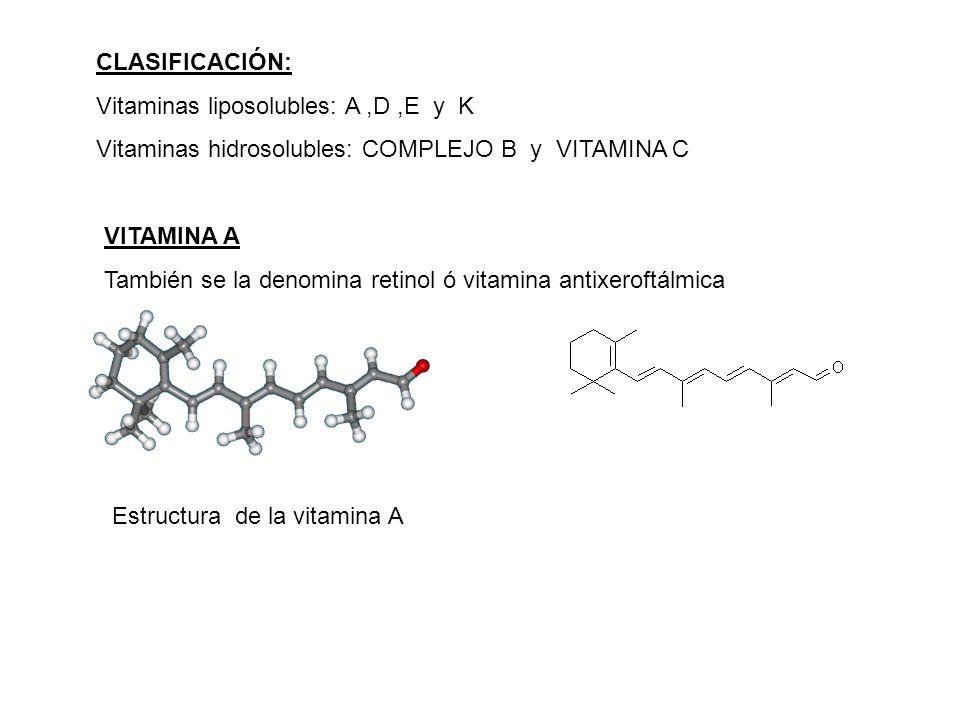 CLASIFICACIÓN: Vitaminas liposolubles: A ,D ,E y K. Vitaminas hidrosolubles: COMPLEJO B y VITAMINA C.