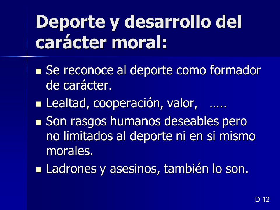Deporte y desarrollo del carácter moral:
