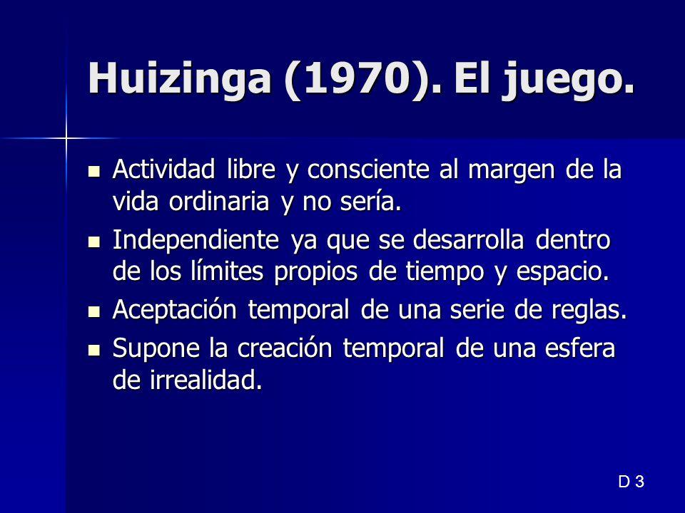 Huizinga (1970). El juego. Actividad libre y consciente al margen de la vida ordinaria y no sería.
