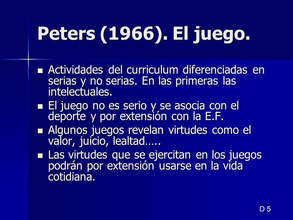 Peters (1966). El juego. Actividades del curriculum diferenciadas en serias y no serias. En las primeras las intelectuales.