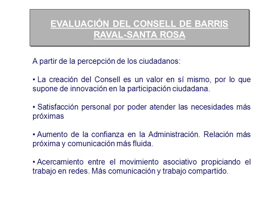 EVALUACIÓN DEL CONSELL DE BARRIS