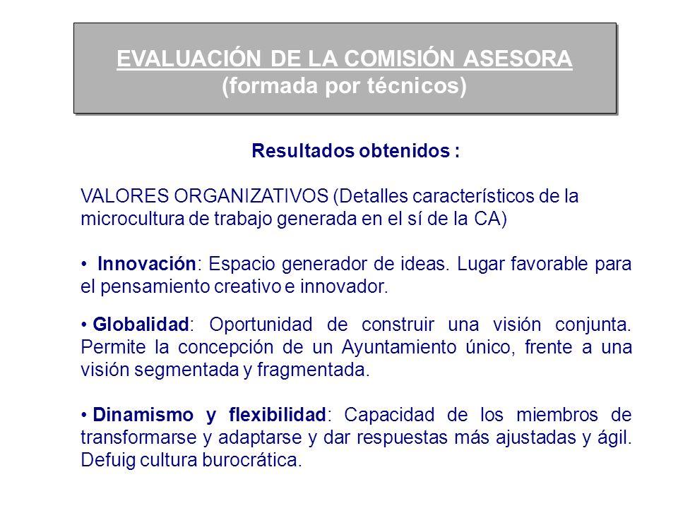 EVALUACIÓN DE LA COMISIÓN ASESORA (formada por técnicos)