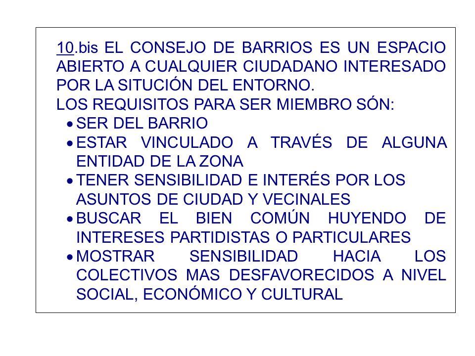 10.bis EL CONSEJO DE BARRIOS ES UN ESPACIO ABIERTO A CUALQUIER CIUDADANO INTERESADO POR LA SITUCIÓN DEL ENTORNO.