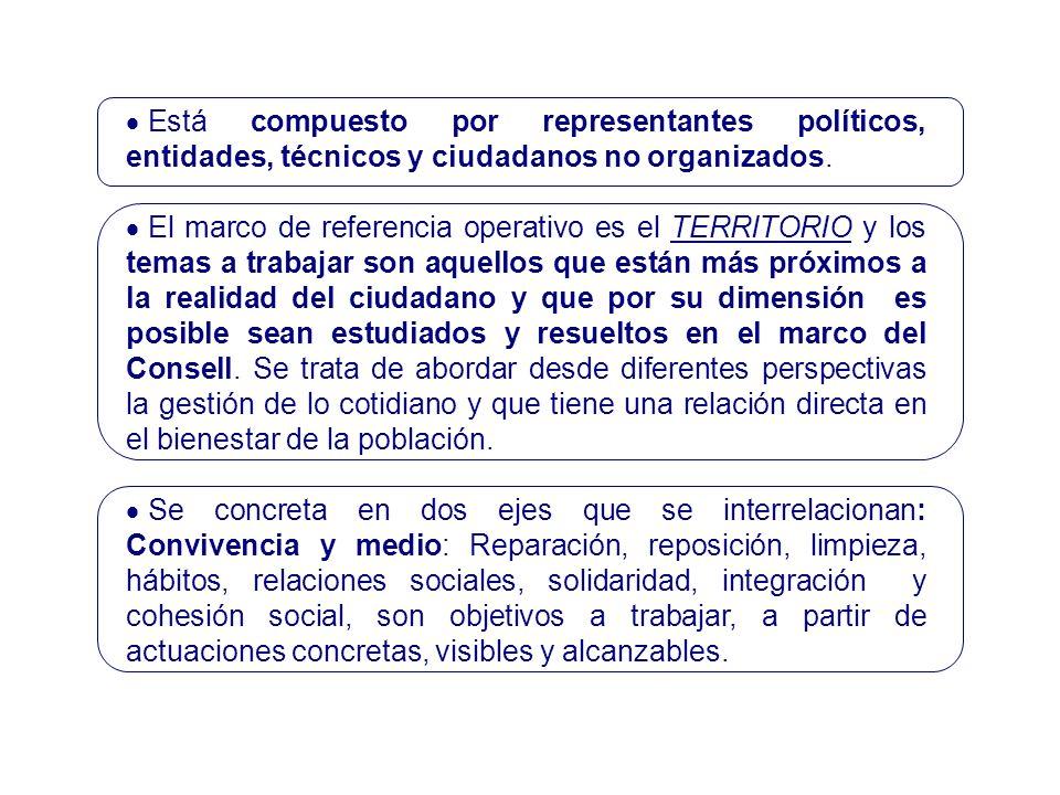 Está compuesto por representantes políticos, entidades, técnicos y ciudadanos no organizados.
