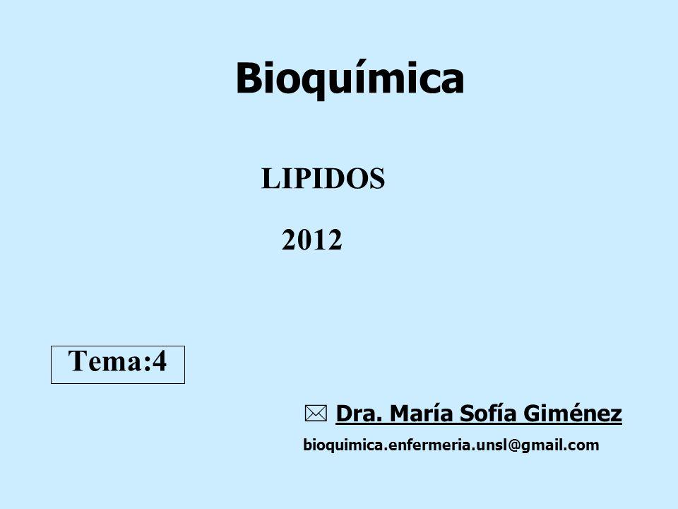 Bioquímica LIPIDOS 2012 Tema:4  Dra. María Sofía Giménez