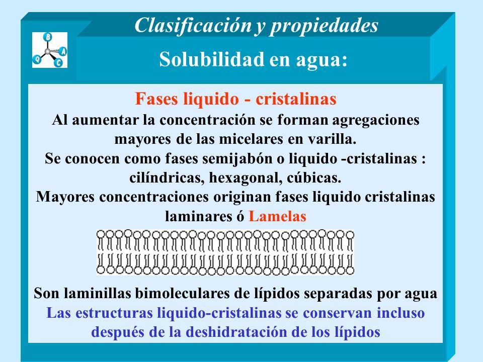 Clasificación y propiedades Solubilidad en agua: