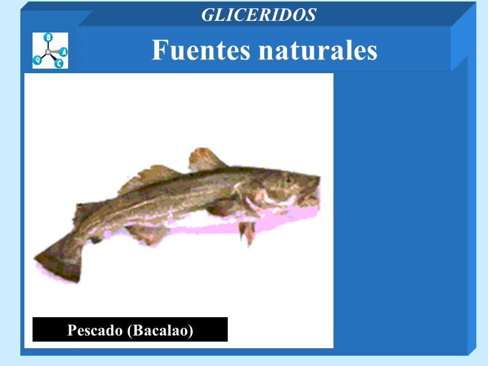 GLICERIDOS Fuentes naturales Pescado (Bacalao)