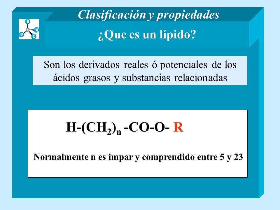 H-(CH2)n -CO-O- R Clasificación y propiedades ¿Que es un lípido