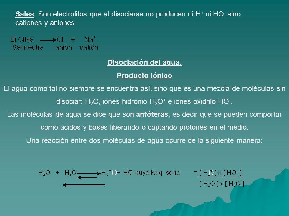 Sales: Son electrolitos que al disociarse no producen ni H+ ni HO- sino cationes y aniones