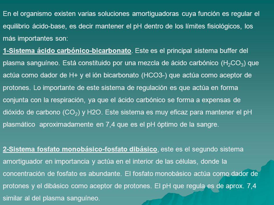 En el organismo existen varias soluciones amortiguadoras cuya función es regular el equilibrio ácido-base, es decir mantener el pH dentro de los límites fisiológicos, los más importantes son: