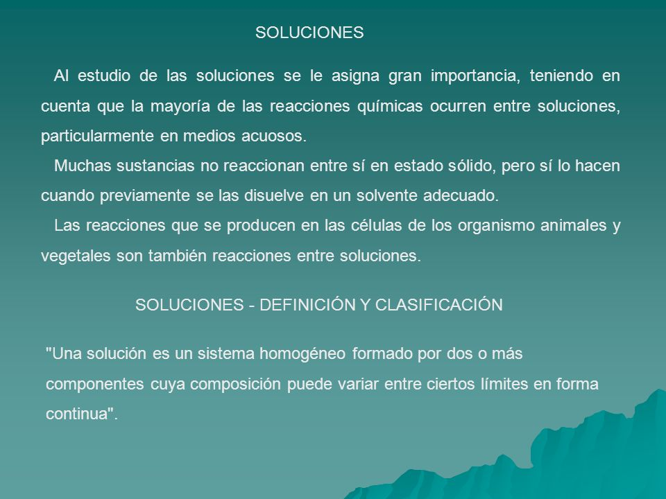 SOLUCIONES - DEFINICIÓN Y CLASIFICACIÓN