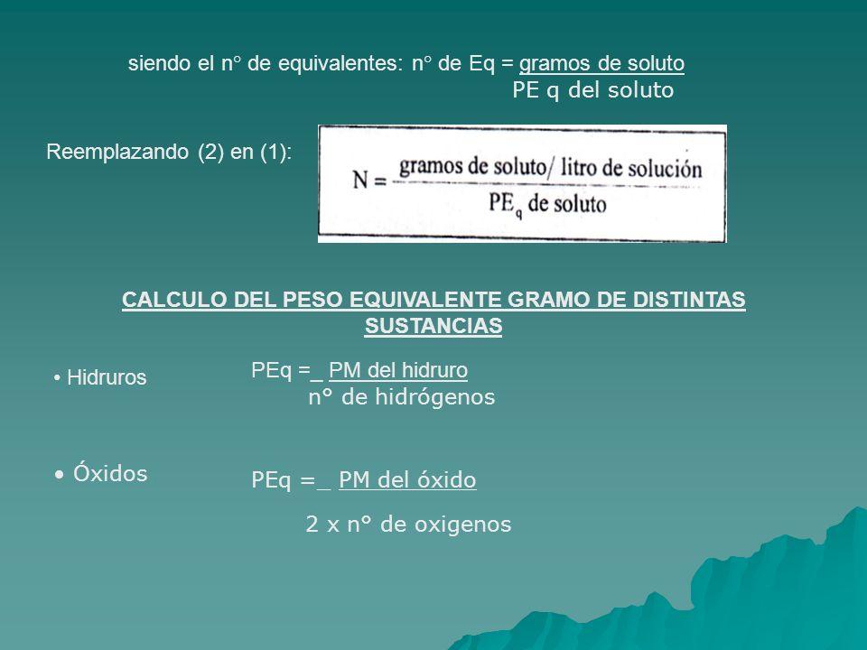 CALCULO DEL PESO EQUIVALENTE GRAMO DE DISTINTAS SUSTANCIAS