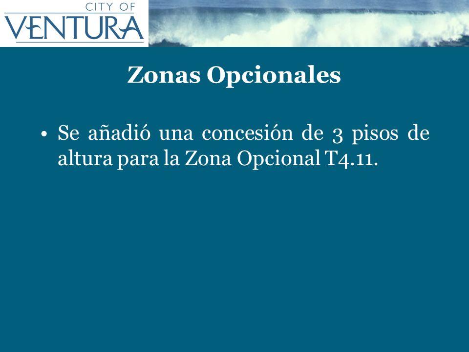 Zonas Opcionales Se añadió una concesión de 3 pisos de altura para la Zona Opcional T4.11.