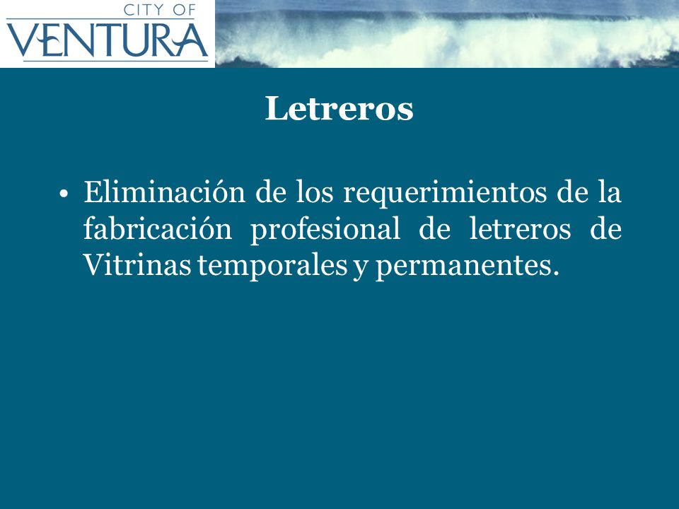 Letreros Eliminación de los requerimientos de la fabricación profesional de letreros de Vitrinas temporales y permanentes.