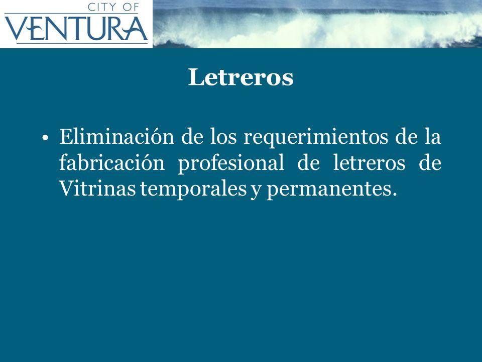 LetrerosEliminación de los requerimientos de la fabricación profesional de letreros de Vitrinas temporales y permanentes.