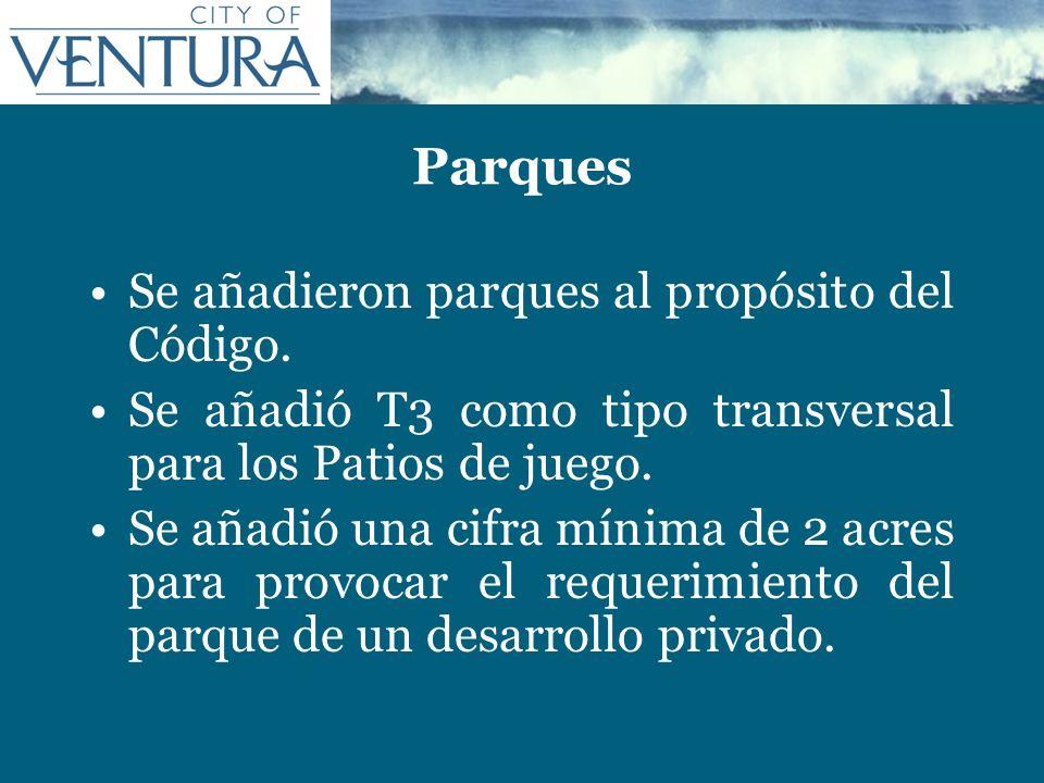 Parques Se añadieron parques al propósito del Código.