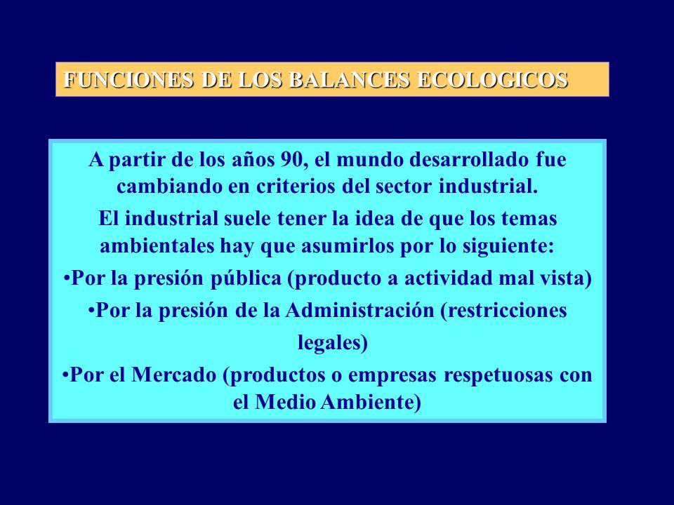 FUNCIONES DE LOS BALANCES ECOLOGICOS