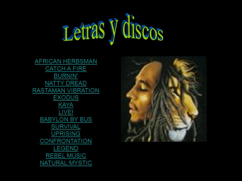 Letras y discos AFRICAN HERBSMAN CATCH A FIRE BURNIN NATTY DREAD
