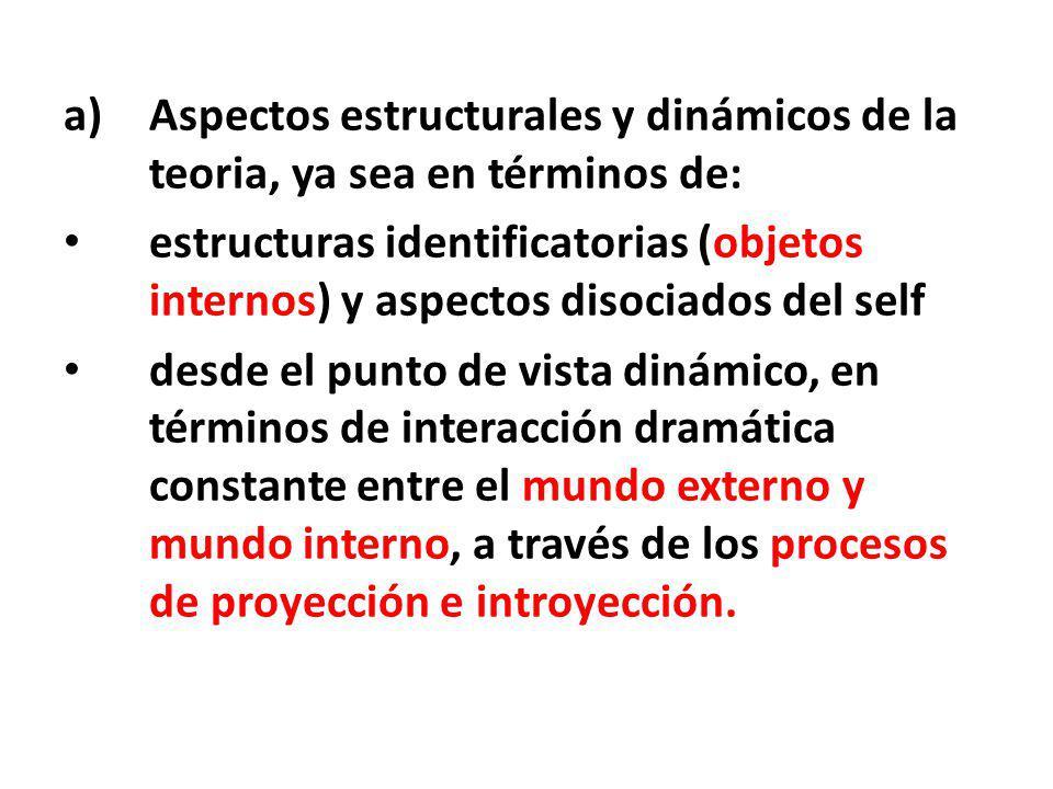 Aspectos estructurales y dinámicos de la teoria, ya sea en términos de: