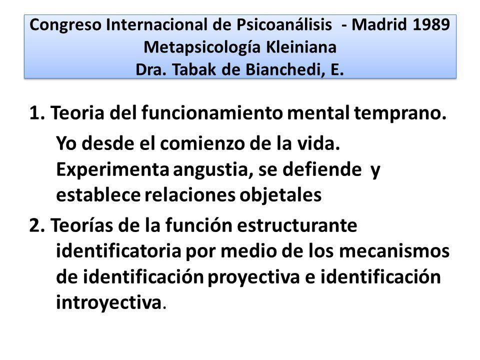 Congreso Internacional de Psicoanálisis - Madrid 1989 Metapsicología Kleiniana Dra. Tabak de Bianchedi, E.