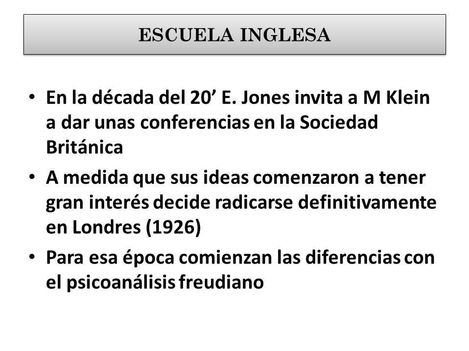 ESCUELA INGLESA En la década del 20' E. Jones invita a M Klein a dar unas conferencias en la Sociedad Británica.