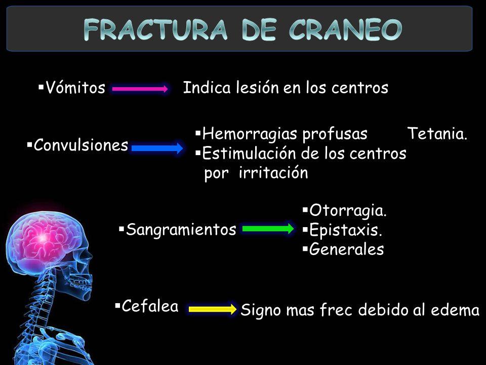 FRACTURA DE CRANEO Vómitos Indica lesión en los centros