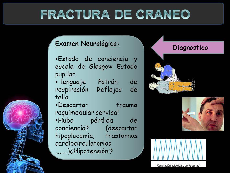 FRACTURA DE CRANEO Examen Neurológico: Diagnostico