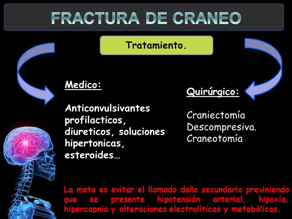 FRACTURA DE CRANEO Tratamiento. Medico: Quirúrgico:
