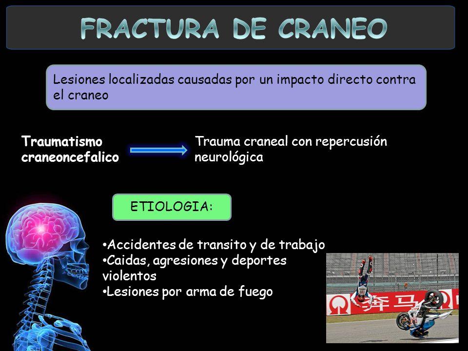 FRACTURA DE CRANEO Lesiones localizadas causadas por un impacto directo contra el craneo. Traumatismo.