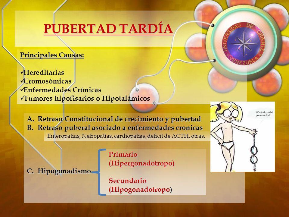 PUBERTAD TARDÍA Principales Causas: Hereditarias Cromosómicas