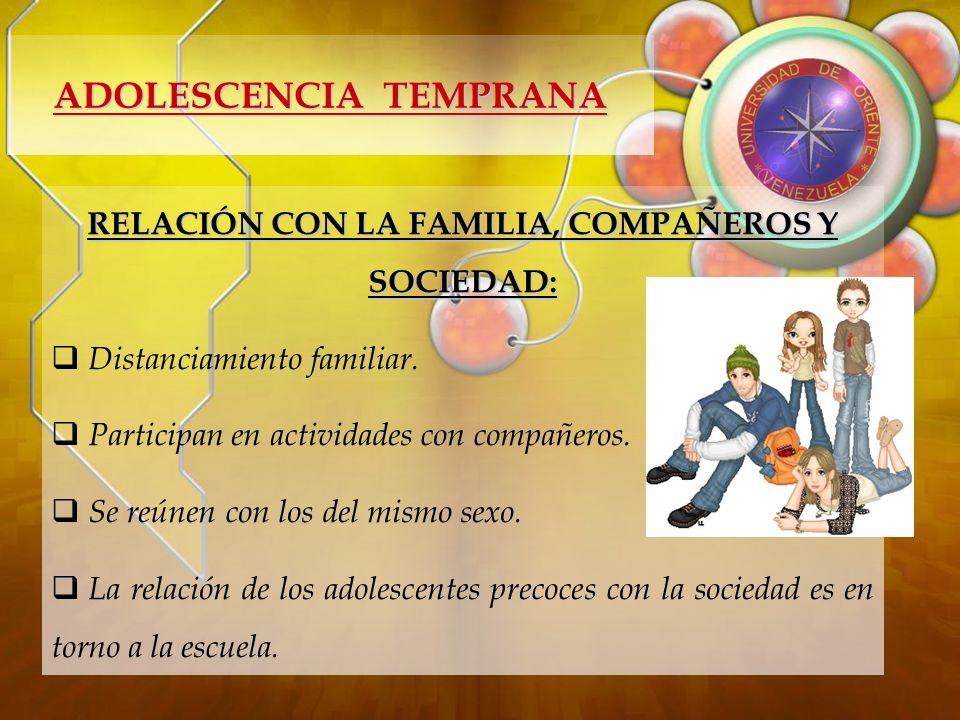 ADOLESCENCIA TEMPRANA RELACIÓN CON LA FAMILIA, COMPAÑEROS Y SOCIEDAD:
