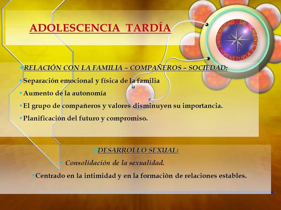 RELACIÓN CON LA FAMILIA – COMPAÑEROS – SOCIEDAD: