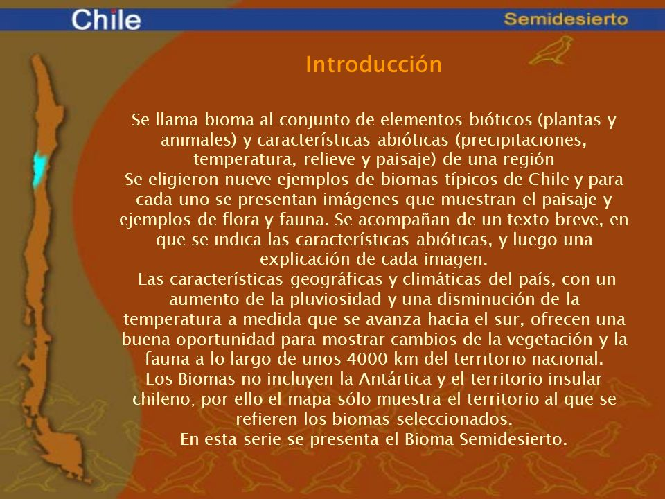 En esta serie se presenta el Bioma Semidesierto.