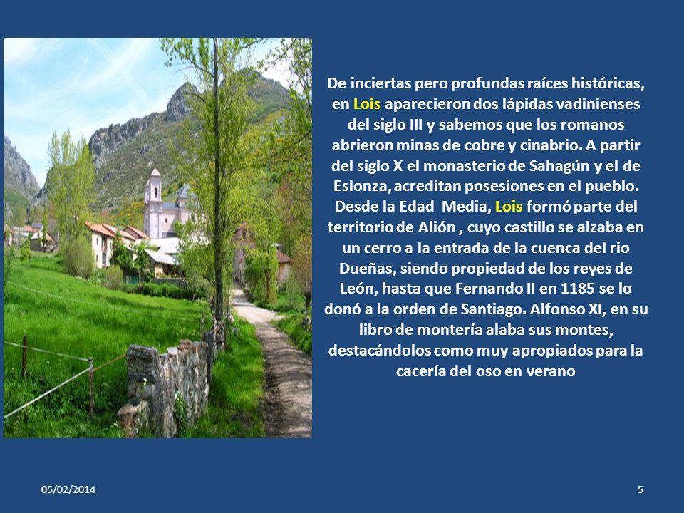 De inciertas pero profundas raíces históricas, en Lois aparecieron dos lápidas vadinienses del siglo III y sabemos que los romanos abrieron minas de cobre y cinabrio. A partir del siglo X el monasterio de Sahagún y el de Eslonza, acreditan posesiones en el pueblo. Desde la Edad Media, Lois formó parte del territorio de Alión , cuyo castillo se alzaba en un cerro a la entrada de la cuenca del rio Dueñas, siendo propiedad de los reyes de León, hasta que Fernando II en 1185 se lo donó a la orden de Santiago. Alfonso XI, en su libro de montería alaba sus montes, destacándolos como muy apropiados para la cacería del oso en verano